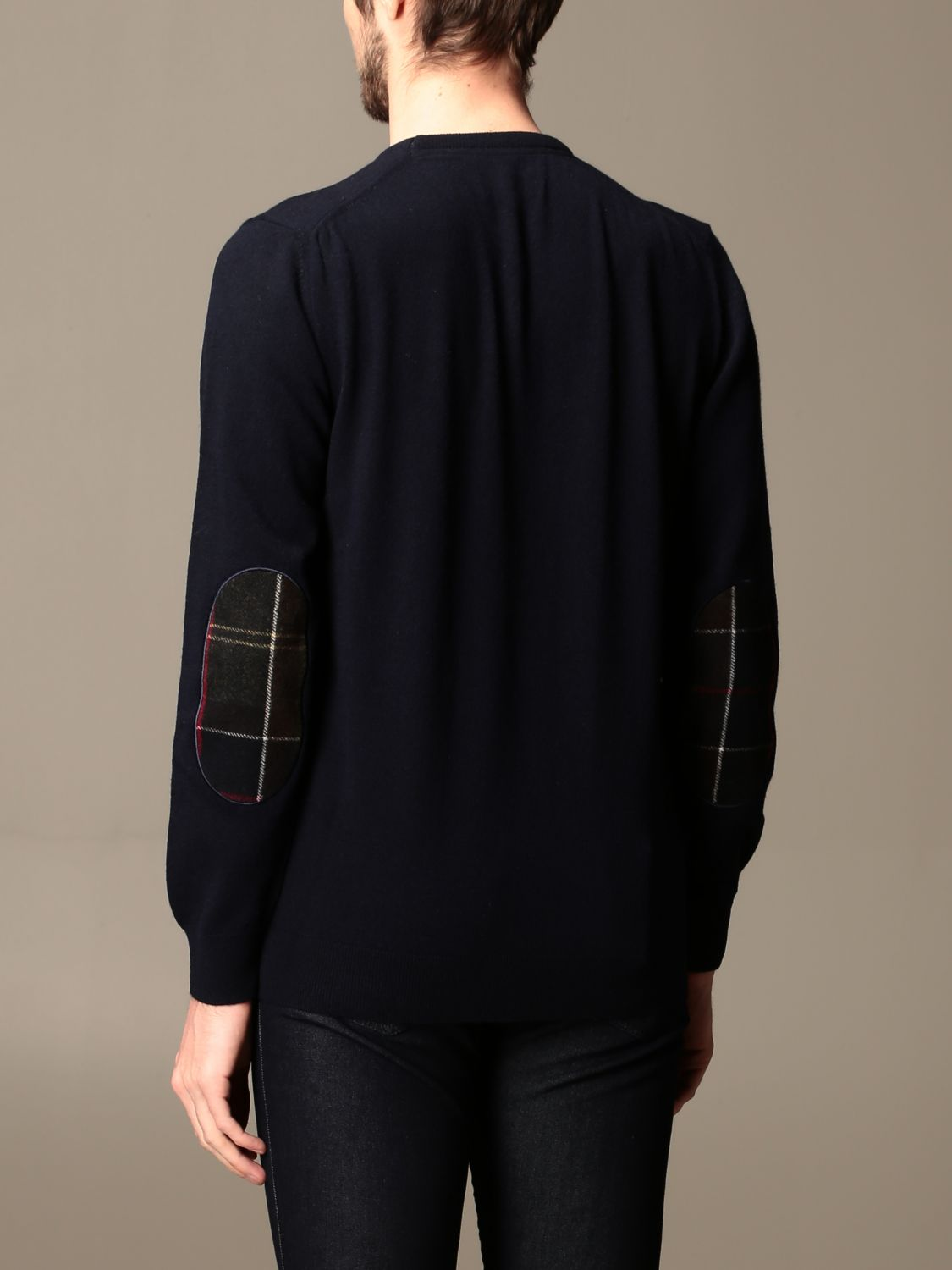 Sweater Barbour: Barbour crewneck sweater with tartan patches blue 2
