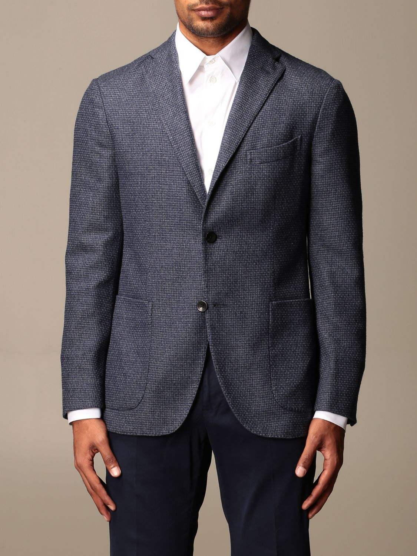 Jacket Boglioli: Boglioli single-breasted jacket in wool and cotton blue 1