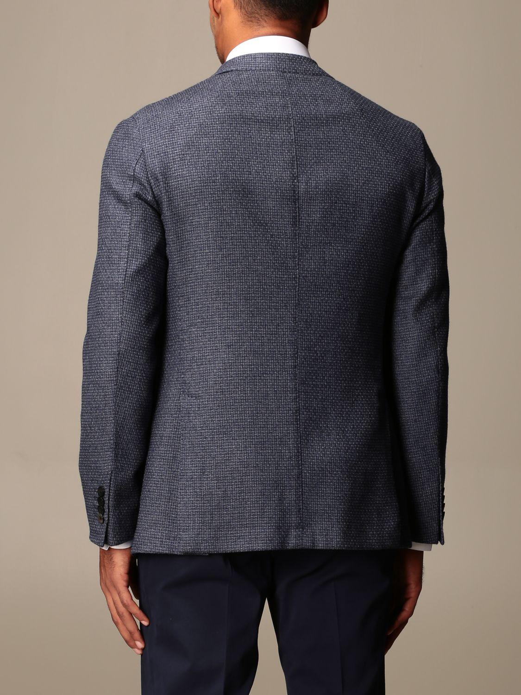 Jacket Boglioli: Boglioli single-breasted jacket in wool and cotton blue 2