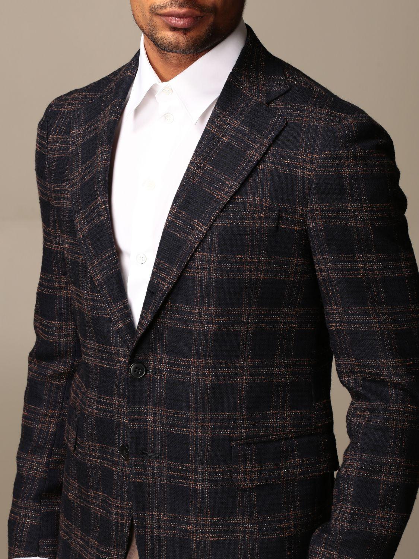 Giacca Brian Dales: Giacca a monopetto Brian Dales in cotone e lana tartan blue 3