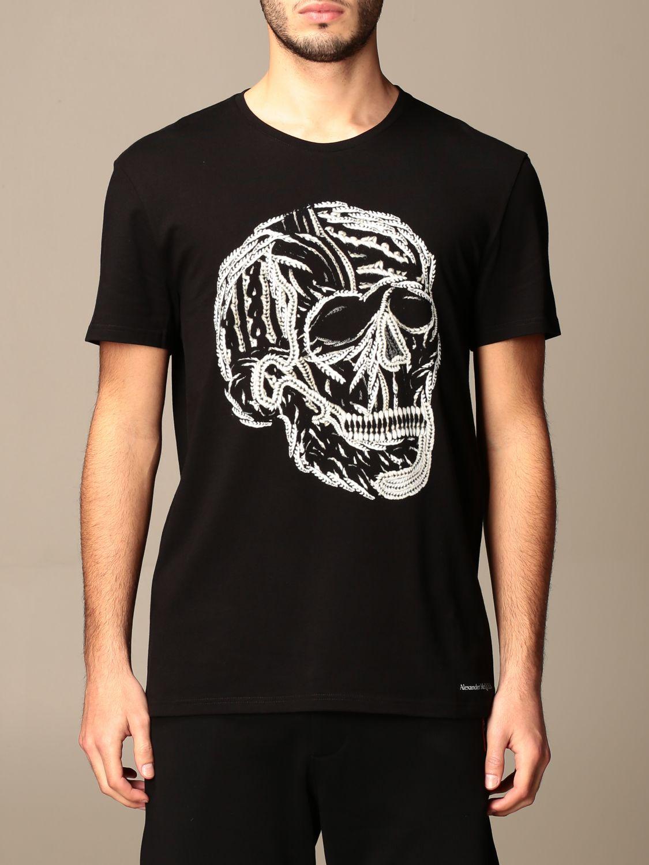 T-shirt Alexander Mcqueen: T-shirt Alexander McQueen in cotone con teschio nero 1