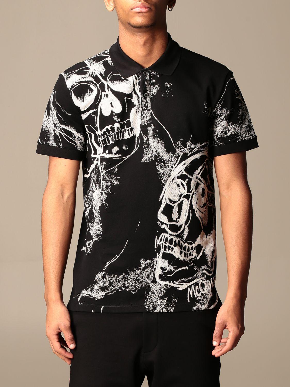 T-shirt Alexander Mcqueen: Camicia Alexander McQueen con teschi all over nero 1