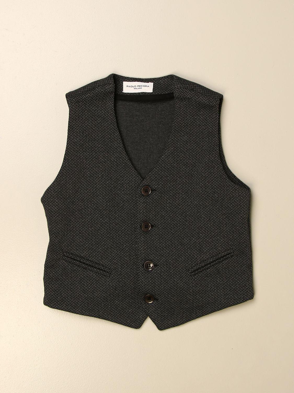 Waistcoat Paolo Pecora: Paolo Pecora single-breasted waistcoat in cotton blend charcoal 1