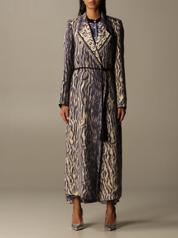 Coat Forte Forte: Forte Forte dressing gown coat in patterned virgin wool violet 1