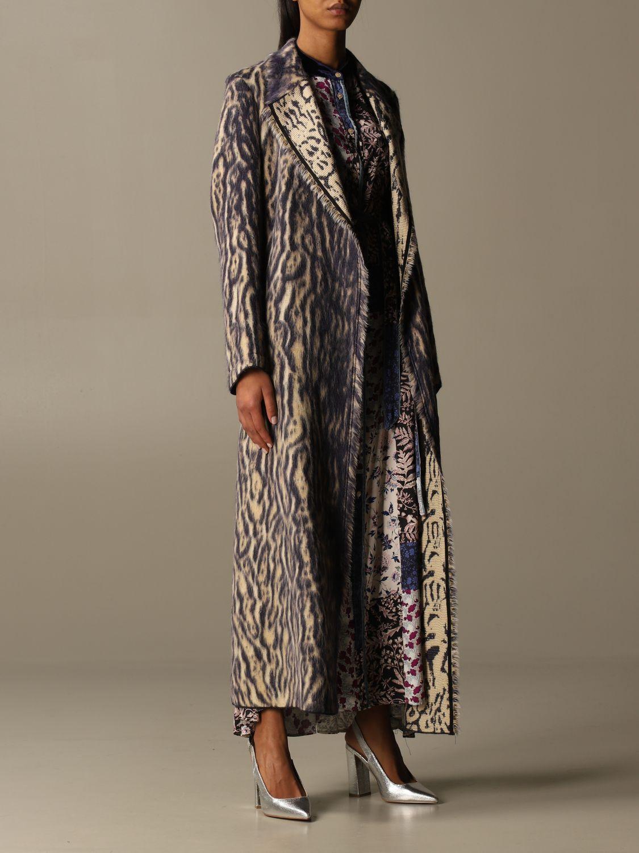 Coat Forte Forte: Forte Forte dressing gown coat in patterned virgin wool violet 2