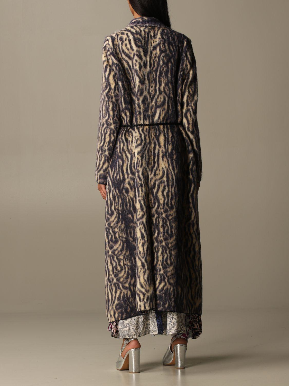Coat Forte Forte: Forte Forte dressing gown coat in patterned virgin wool violet 3