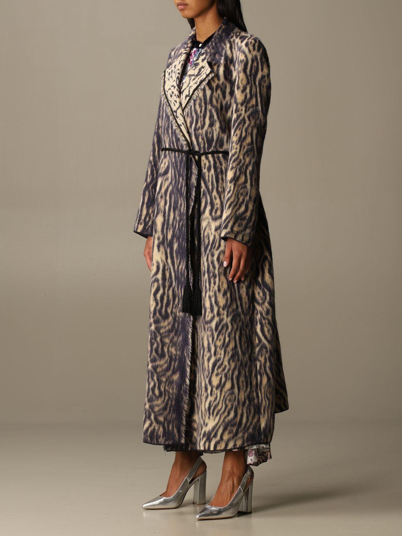 Coat Forte Forte: Forte Forte dressing gown coat in patterned virgin wool violet 4