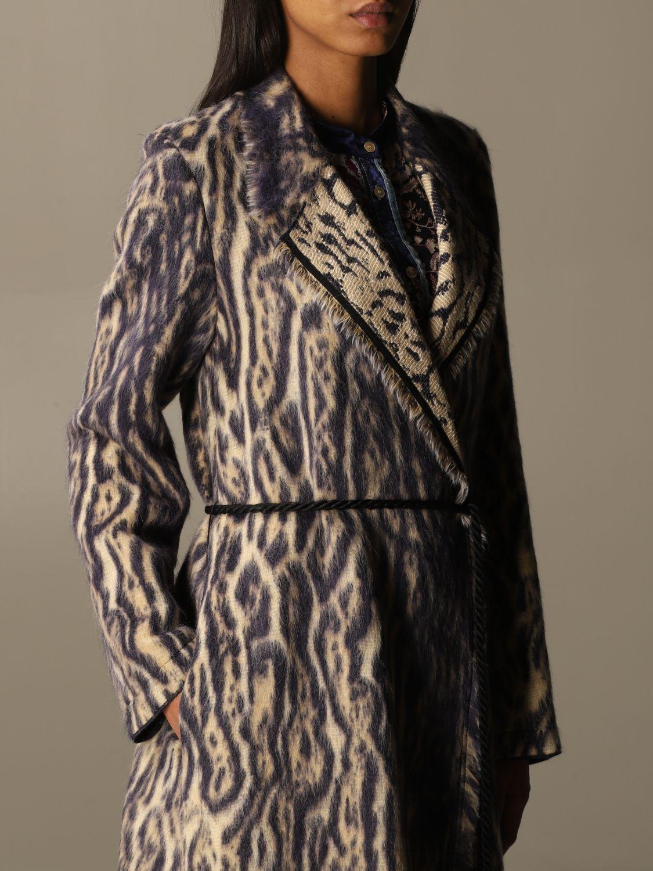 Coat Forte Forte: Forte Forte dressing gown coat in patterned virgin wool violet 5