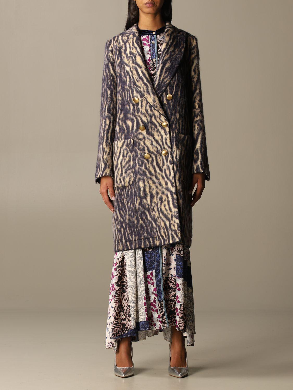 Coat Forte Forte: Forte Forte double-breasted coat in patterned virgin wool violet 1