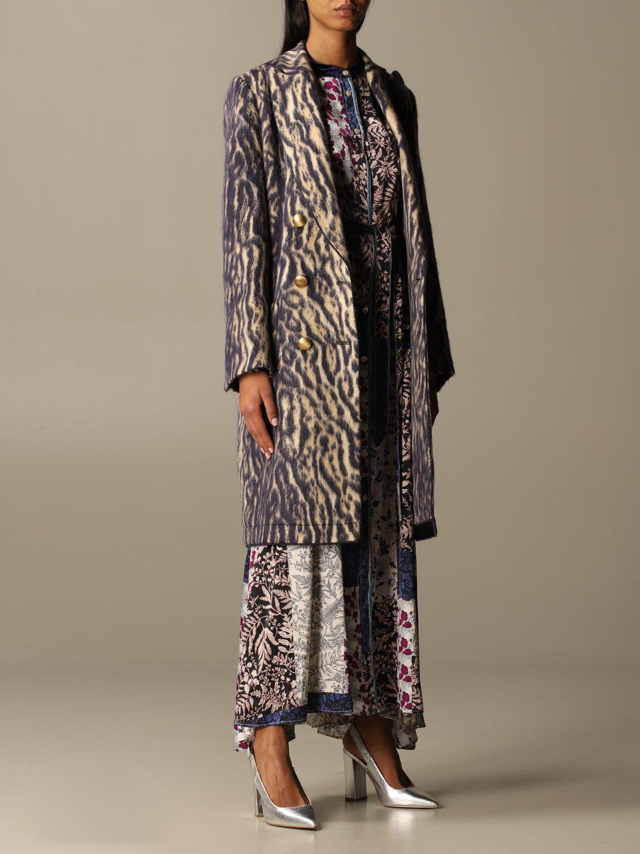 Coat Forte Forte: Forte Forte double-breasted coat in patterned virgin wool violet 2