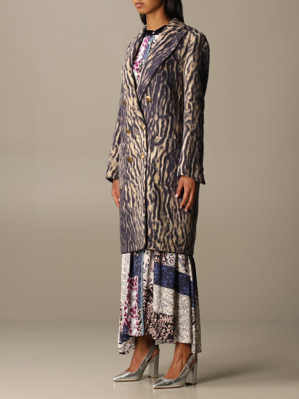 Coat Forte Forte: Forte Forte double-breasted coat in patterned virgin wool violet 4