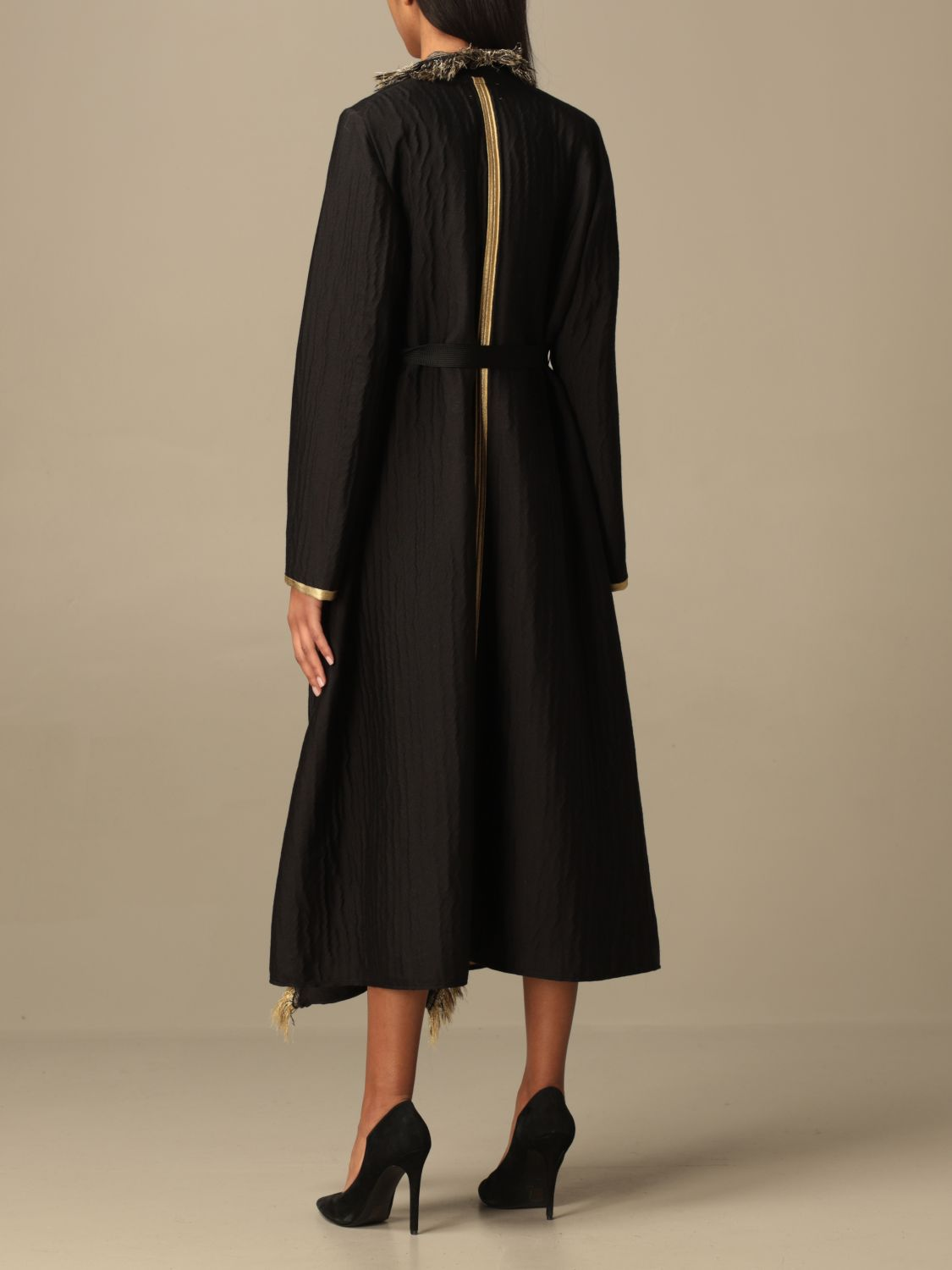 Coat Forte Forte: Forte Forte dressing gown coat in wool blend black 3