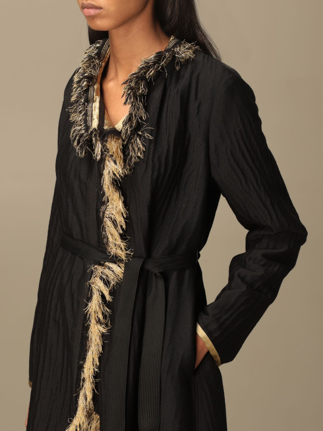 Coat Forte Forte: Forte Forte dressing gown coat in wool blend black 4