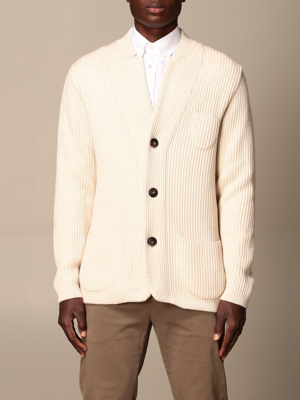 Cardigan Alpha Studio: Cardigan a v Alpha Studio in misto lana e cashmere bianco 1