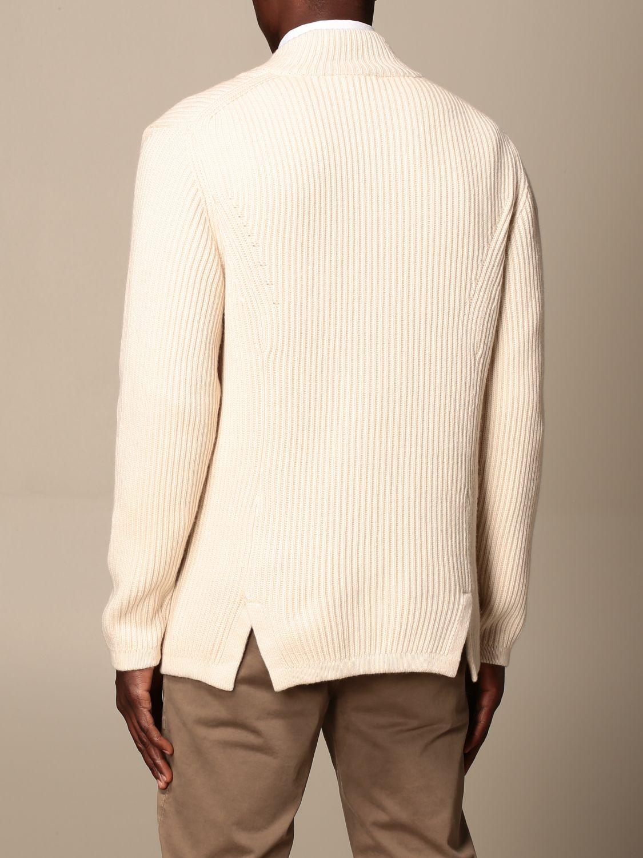 Cardigan Alpha Studio: Cardigan a v Alpha Studio in misto lana e cashmere bianco 2
