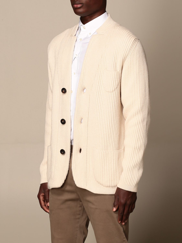 Cardigan Alpha Studio: Cardigan a v Alpha Studio in misto lana e cashmere bianco 3