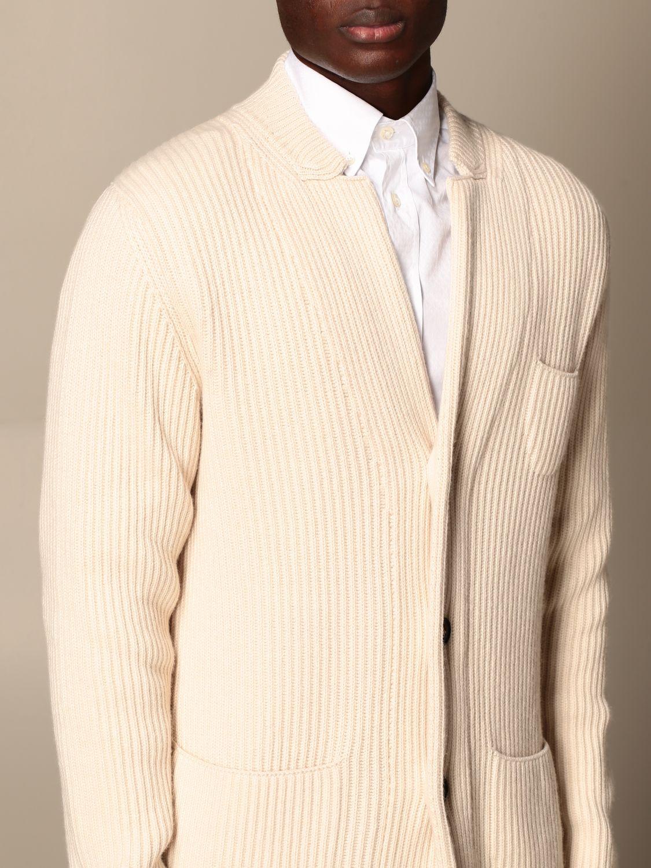 Cardigan Alpha Studio: Cardigan a v Alpha Studio in misto lana e cashmere bianco 4