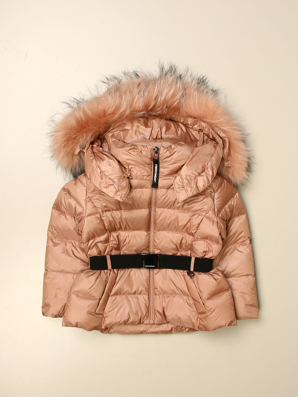 Jacket Freedomday: Freedomday down jacket with hood and fur edges peach 1