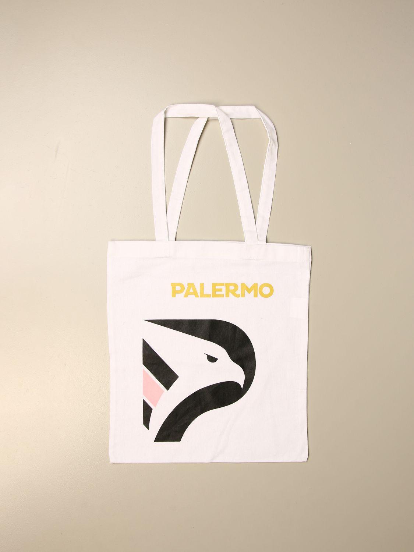 Borsa a tracolla Palermo: Shopper Palermo in cotone con stemma bianco 1