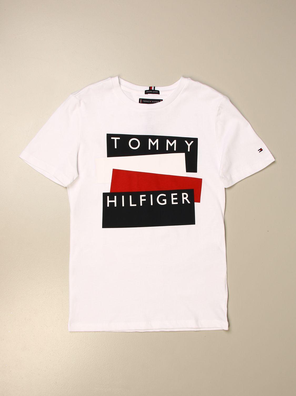 T-shirt Tommy Hilfiger: T-shirt Tommy Hilfiger in cotone con logo bianco 1