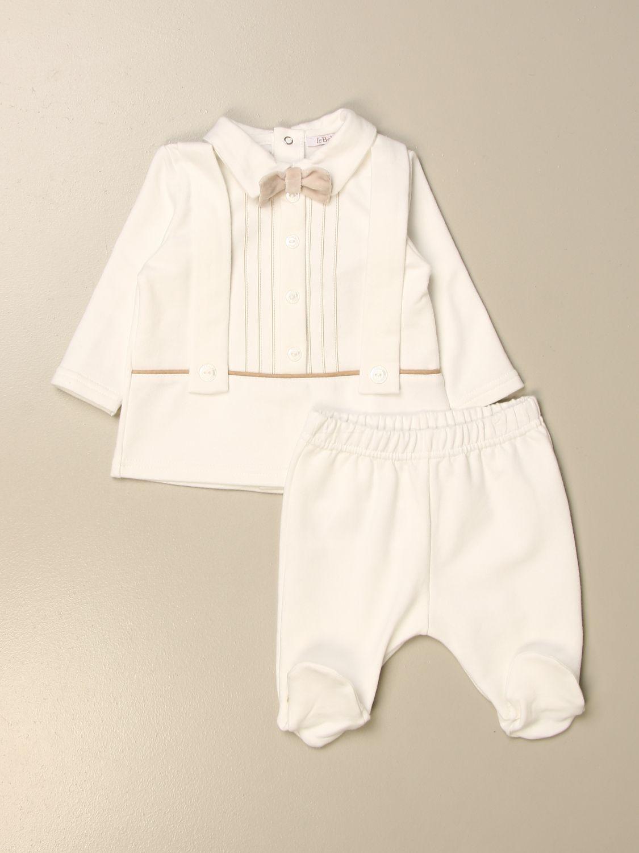 Completo Le Bebé: Completo maglia + pantalone Le Bebè con fiocco panna 1