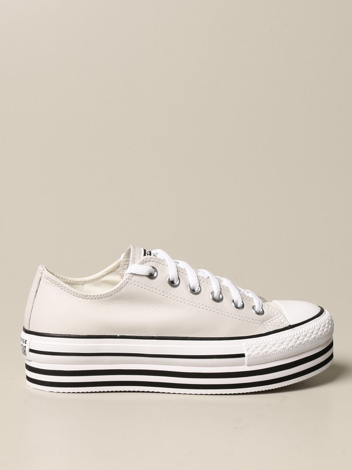Converse leather platform sneakers