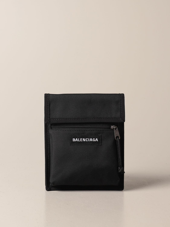 Briefcase Balenciaga: Balenciaga nylon document holder with logo black 1