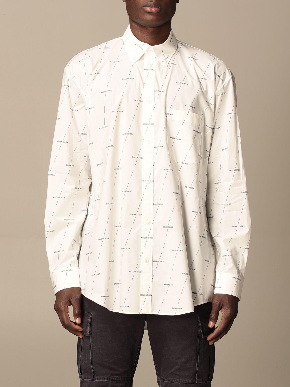 Shirt Balenciaga: Balenciaga shirt with all over logo white 1