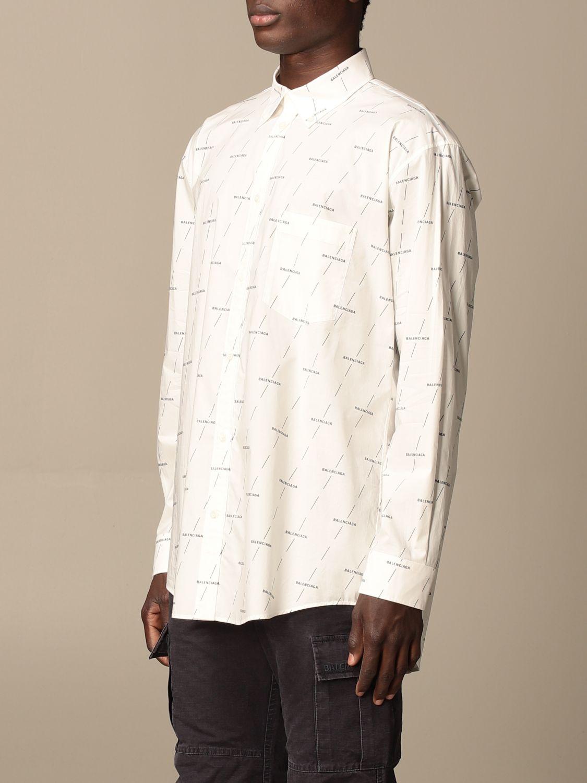 Shirt Balenciaga: Balenciaga shirt with all over logo white 4