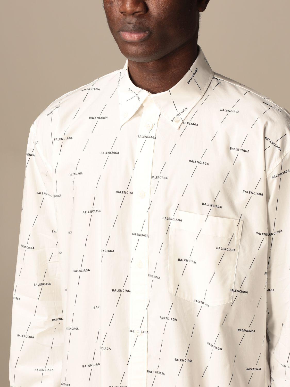 Shirt Balenciaga: Balenciaga shirt with all over logo white 5