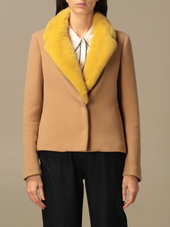 Blazer Ida Lou: Giacca Ida Lou in lana vergine e cashmere con collo di visone beige 1