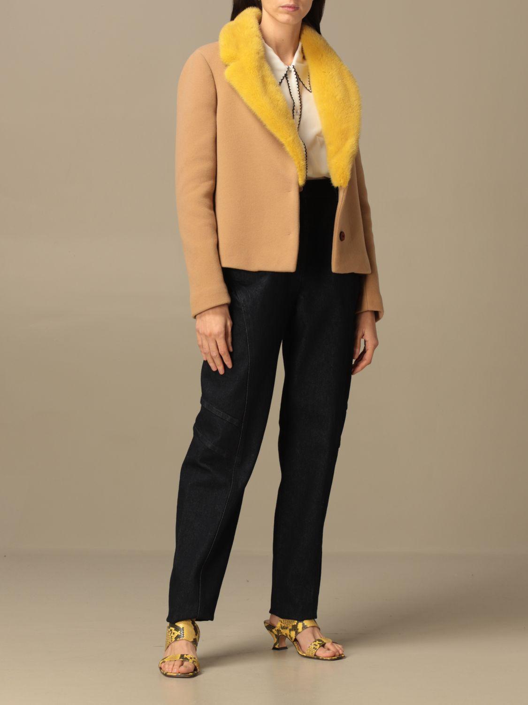Blazer Ida Lou: Giacca Ida Lou in lana vergine e cashmere con collo di visone beige 2