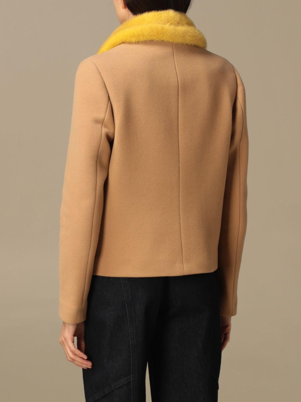 Blazer Ida Lou: Giacca Ida Lou in lana vergine e cashmere con collo di visone beige 3
