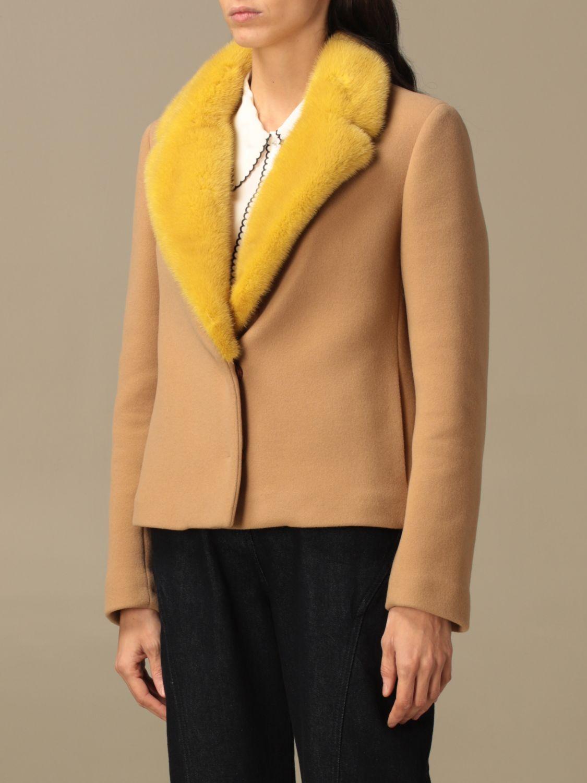 Blazer Ida Lou: Giacca Ida Lou in lana vergine e cashmere con collo di visone beige 4