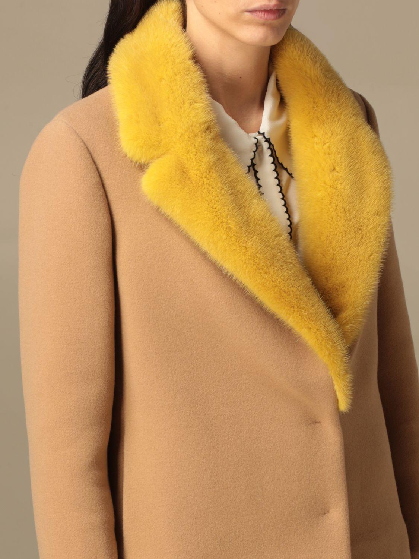 Blazer Ida Lou: Giacca Ida Lou in lana vergine e cashmere con collo di visone beige 5