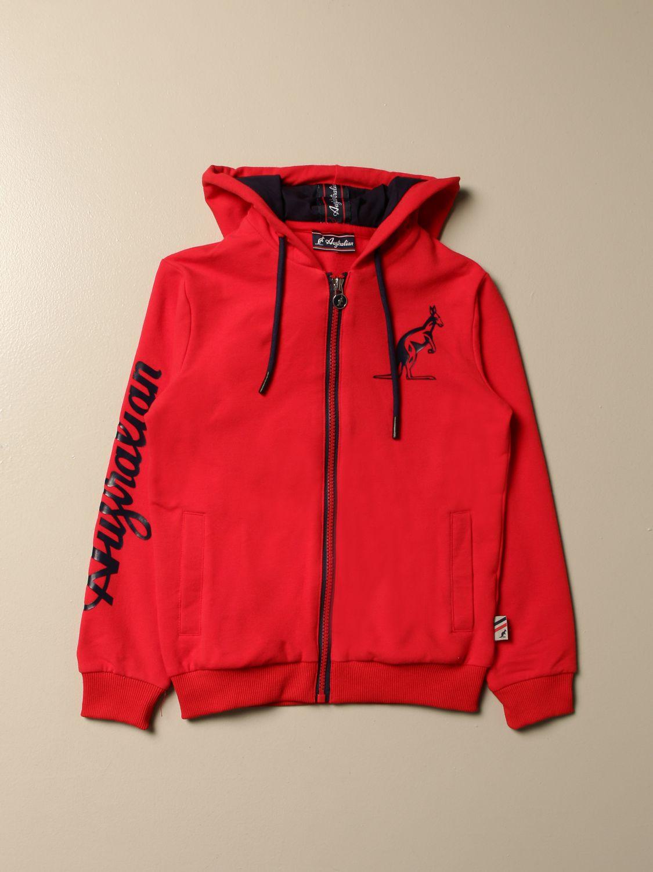Sweater Australian: Australian sweatshirt with hood and logo red 1