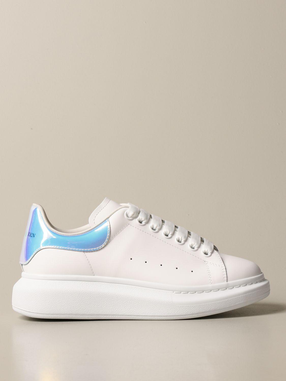 Sneakers Alexander Mcqueen: Sneakers Alexander McQueen in pelle con tallone iridescente bianco 1