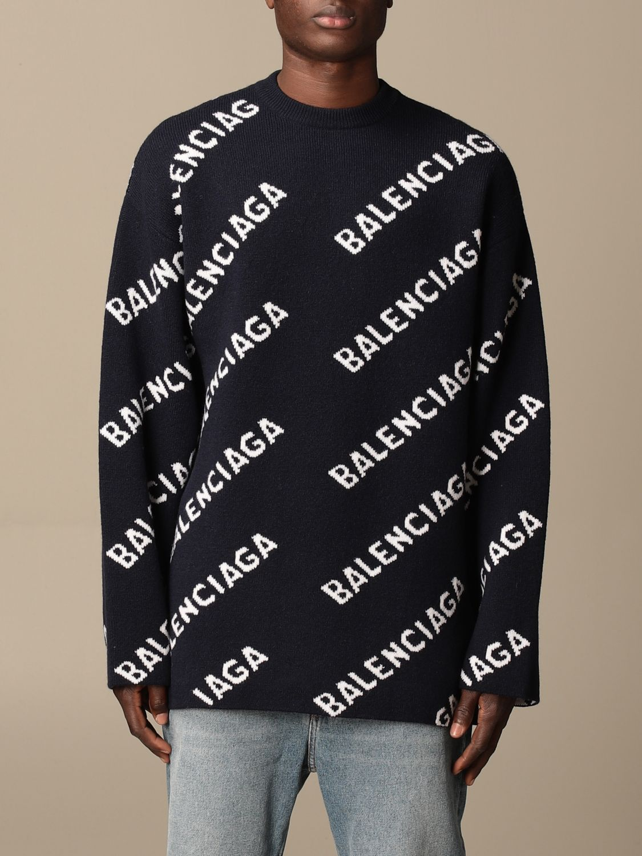 Sweatshirt Balenciaga: Over Balenciaga pullover with all over logo navy 1
