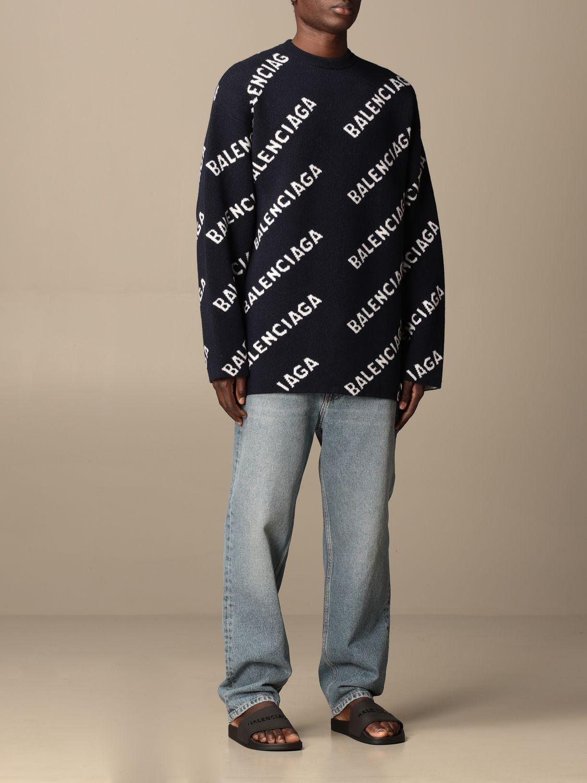 Sweatshirt Balenciaga: Over Balenciaga pullover with all over logo navy 2