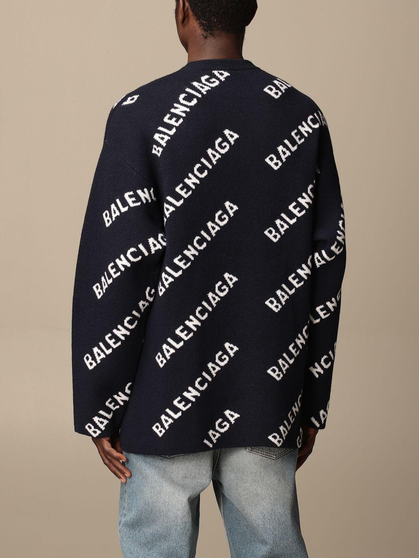 Sweatshirt Balenciaga: Over Balenciaga pullover with all over logo navy 3