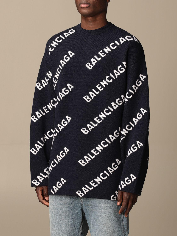 Sweatshirt Balenciaga: Over Balenciaga pullover with all over logo navy 4