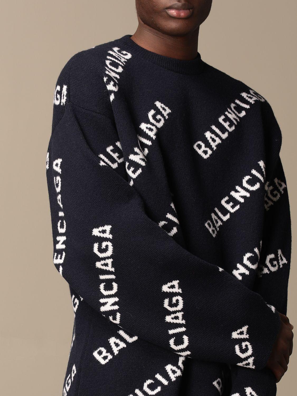 Sweatshirt Balenciaga: Over Balenciaga pullover with all over logo navy 5