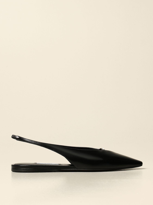 Ballerine Prada: Sandalo slingback flat Prada in pelle spazzolata nero 1