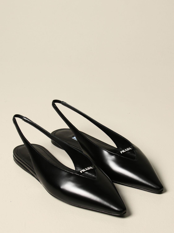Ballerine Prada: Sandalo slingback flat Prada in pelle spazzolata nero 2
