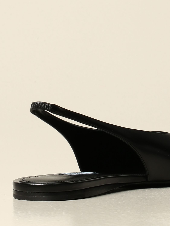 Ballerine Prada: Sandalo slingback flat Prada in pelle spazzolata nero 3
