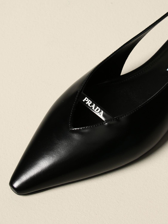 Ballerine Prada: Sandalo slingback flat Prada in pelle spazzolata nero 4