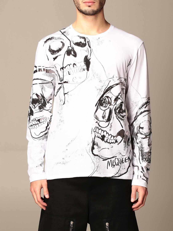 T-shirt Alexander Mcqueen: Alexander McQueen t-shirt in cotton with skull print white 1