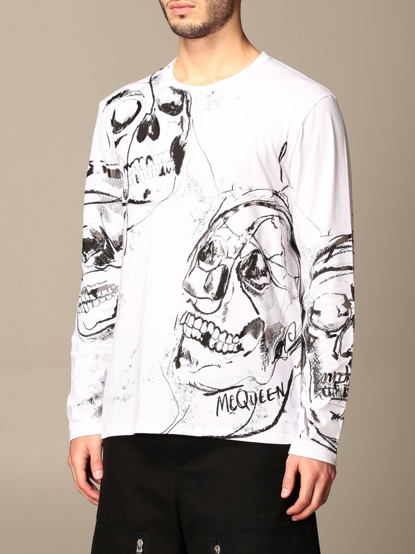 T-shirt Alexander Mcqueen: Alexander McQueen t-shirt in cotton with skull print white 4