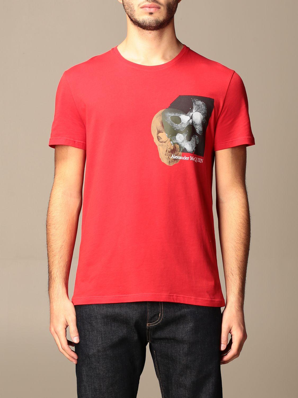 T-shirt Alexander Mcqueen: T-shirt Alexander McQueen in cotone con stampa verde 1
