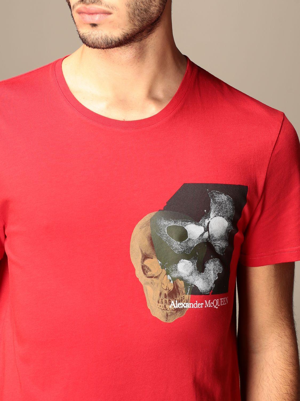 T-shirt Alexander Mcqueen: T-shirt Alexander McQueen in cotone con stampa verde 5